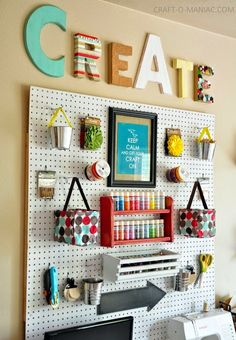 Best DIY Projects: Craft Organization Wall.(I just saw this exact room in a magazine!)