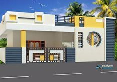 Image result for individual house front elevations #InteriorPaintSprayer House Outer Design, House Front Wall Design, Single Floor House Design, Village House Design, Duplex House Design, House Design Photos, Small House Design, Front Elevation Designs, House Elevation