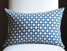 pillow possibility Beautiful Decorative Pillow Cover-12x18-COTTON-Betwixt-Indigo/Ivory-Celerie Kemble-Throw Pillow-Accent Pillow. $45.00, via Etsy.