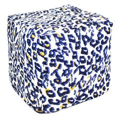 Handcrafted Blue and White Animal Print Pouf Ottoman (India) | Overstock.com Shopping - Top Rated Ottomans