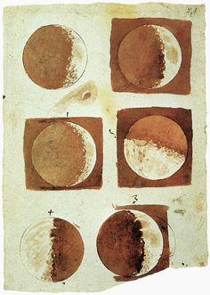 """Moon phases watercolor painting from """"Sidereus Nuncius"""", Venice, 1610 by Galileo Galilei 