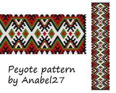 Peyote pattern,bracelet pattern, bead pattern #23, beading pattern, peyote cuff pattern, pdf pattern, instant download, seed beads pattern