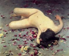 Nude woman among petals by Ramon Casas i Carbó: History, Analysis & Facts Spanish Painters, Spanish Artists, Ramones, Figure Painting, Painting & Drawing, Barcelona Street, Art Through The Ages, Modernisme, Traditional Paintings
