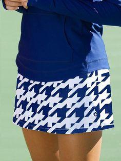 Cosmopolitan (Blue Houndstooth) JoFit Ladies Plus Size Swing Tennis Skorts at Loris Golf Shoppe