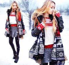 Sheinside  Sweater, Frontrowshop  Skirt, Zanzea Gloves, Chicwish  Scarf, Choies Coat