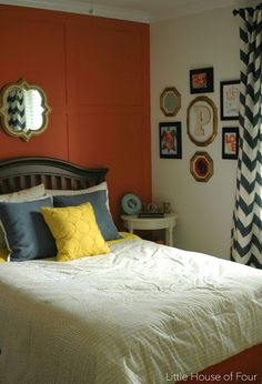 Girls navy, yellow and coral room makeover on a budget.