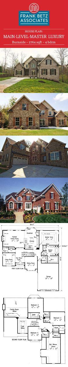 Burnside: 2764 sqft, 4 bdrm Luxury house plan design by Frank Betz Associates Inc. Home Design Plans, Plan Design, Design Ideas, 3d House Plans, Luxury House Plans, Frank Betz, Space Interiors, Diy Decorating, Homes