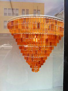 Made of repurposed Prescription Bottles. Photo taken on Valencia Street, San Francisco.