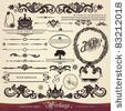 stock vector : EPS 10,Vector calligraphy set: vintage style, ornate design ornaments and page decoration (creative patterns)