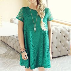 The Santa Clara Lace Dress in Green... perfect for bridesmaids or a wedding!