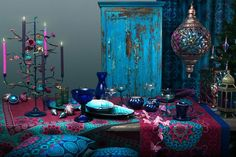 Blue And purple decoration for home, hippie And boho style