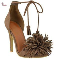 Haut femme à talon plat talon bas Fringe Tassel travail ballerine école dolly chaussures taille