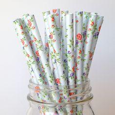 Rustic Blue Vintage Floral Paper Straws