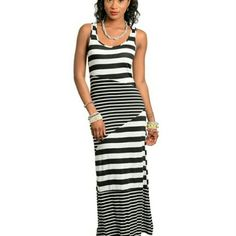 Selling this Black and White Striped Dress on Poshmark! My username is: clmarovich. #shopmycloset #poshmark #fashion #shopping #style #forsale #Dresses & Skirts