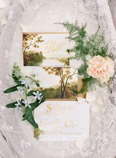 garden wedding invitations - photo by Megan W Photography http://ruffledblog.com/brilliant-wedding-design-inspired-by-paper-goods