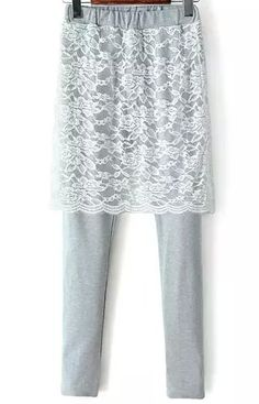 Grey Elastic Waist Lace Skirt Legging - Sheinside.com