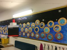 Titanic school display board Class Displays, School Displays, Classroom Displays, Titanic Art, Titanic History, School Projects, Projects For Kids, Art Projects, Underwater Crafts