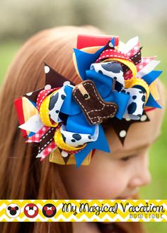 Shop for disney on Etsy, the place to express your creativity through the buying and selling of handmade and vintage goods. Disney Headbands, Disney Bows, Disney Hair, Baby Headbands, Making Hair Bows, Diy Hair Bows, Diy Bow, Bow Hair Clips, Cowgirl Hair