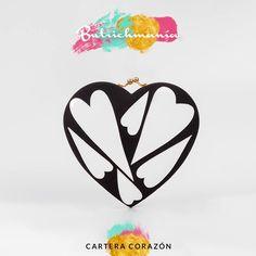 "♥Cartera ""Corazón"" blanco con negro♥ ♥BUTRICHMANÍA♥"