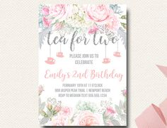 Tea For Two Birthday Invitation Party Floral Pink