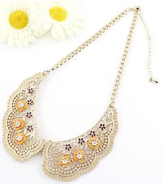 Gold Hollow Collar Yellow Flowers Necklace