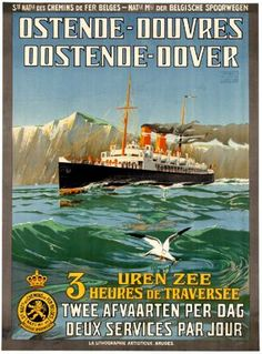 Ostende-Douvres Vintage Travel Poster