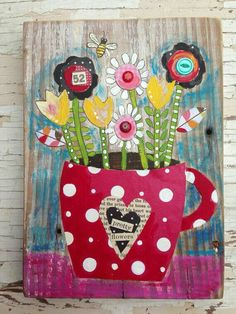 Shabby Chic Mother's Day Gift Mixed Media Floral by Square One Art, Polka Dot Art, Bee Art, Unusual Art, Naive Art, Art Party, Mixed Media Canvas, Art Journal Inspiration, Simple Art