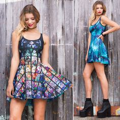 St Vitus vs Galaxy Teal Inside Out Dress - LIMITED (WW $170AUD / US $136USD) by Black Milk Clothing