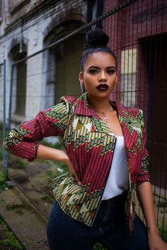 Shop Grass-fields African Print Fashion - African Print Chaga Biker Jacket is the ultimate fashion statement, sure to turn heads, no matter what the occasion. Ankara Tops Blouses, African Blouses, Ankara Blouse, African Attire, African Wear, African Dress, African Prom Dresses, African Fashion Dresses, African Outfits