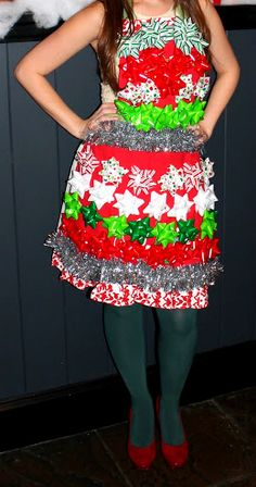 Hot glue bows and tinsel to an apron and wear over a tulle dress for a tacky Christmas Party! No more ugly sweaters.