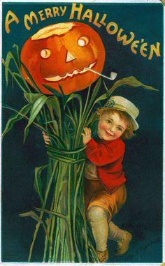 c. 1910s: Vintage Halloween Card, art by Ellen Clappsaddle
