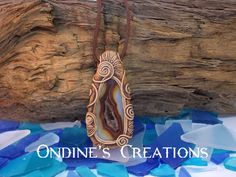Ondines Creations Clay Pendant Druzy Agate Geode Crystal Mineral Healing Stone Hand Crafted Pendant #104 by OndinesCreations on Etsy
