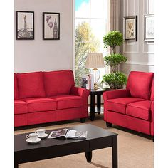 Pilaster Designs Red Upholstered Stationary Love Seat ($420) ❤ liked on Polyvore featuring home, furniture, sofas, upholstery sofa, upholstered sofa, red love seat, red furniture and fabric loveseat