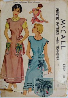1940s Apron Pattern Cover All Apron Bust 3234 McCall by linbot1, $12.00