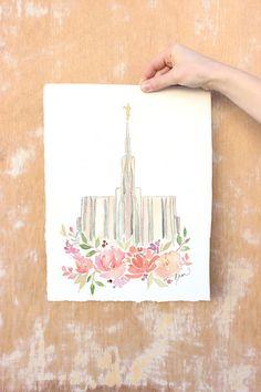 Seattle Washington LDS Temple Watercolor Print