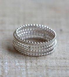 Beaded Wire Silver Stacking Rings – Set of 6