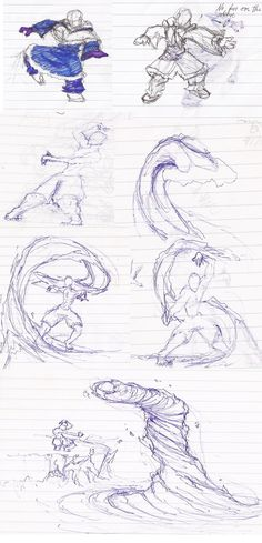 Waterbending Doodles by moptop4000.deviantart.com on @DeviantArt