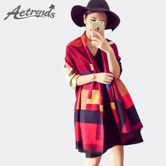 Daily Deals $13.83, Buy [AETRENDS] Luxury Brand Scarf Women Plaid Cashmere Scarves Cape Pashmina Z-1661