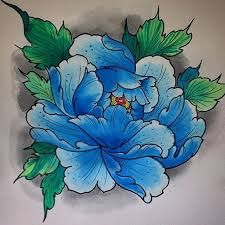 Image result for blue peonies tattoo