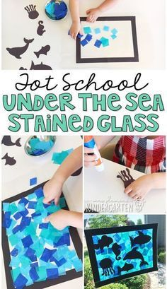 Tot School: Ocean Love how this under the sea stained glass project turned out! Perfect for an ocean theme in tot school, preschool, or the kindergarten classroom. Under The Sea Crafts, Under The Sea Theme, Under The Sea Games, Art Classroom, Kindergarten Classroom, Ocean Themed Classroom, Kindergarten Crafts, Kindergarden Art, Preschool Classroom Themes