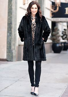 Black Mink Signature Knee-Length Faux Fur Coat $399.00