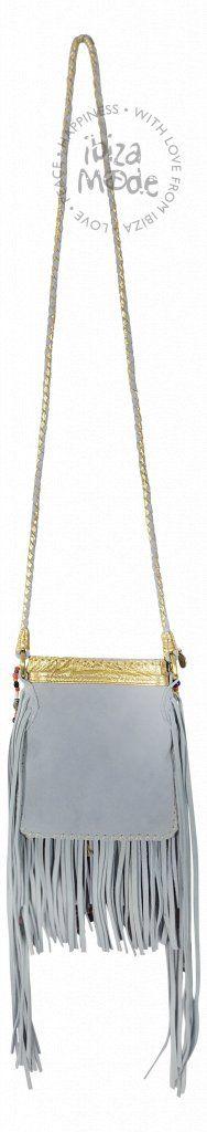 76d7c4654025b1 Handgemachte Tasche von Gado Gado mit Wildleder mit Fransen und  Perlenketten.