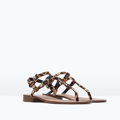 Image 2 of PRINTED LEATHER SANDAL from Zara