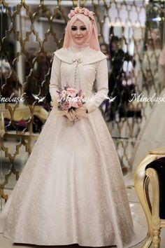 Tuba Evening Dress - Salmon - Minel Ask Dusty Rose Dress, Lilac Dress, Khaki Dress, Navy Blue Dresses, Gold Dress, Flower Girl Dresses, Muslim Evening Dresses, Gold Evening Dresses, Evening Dresses Plus Size