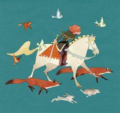 art, illustration, animal, fox, rabbit, bird, horse, figure, woman, woodland, fairy tale