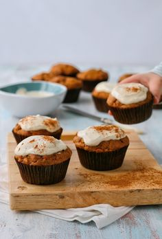 date, carrot and apple muffins with cream cheese topping. (No refined sugar.)
