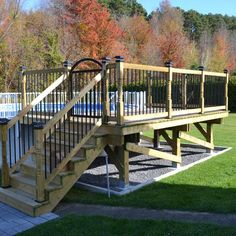 Deck railing isn't just a security attribute. It can add a spectacular aesthetic to frame a decked location or deck. These 36 deck railing ideas show you just how it's done! Above Ground Pool Landscaping, Above Ground Pool Decks, Pool Fence, In Ground Pools, Backyard Landscaping, Backyard Patio, Pergola Designs, Pool Designs, Patio Design