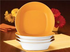 Rachael Ray Round & Square Set of 4 Pasta Bowls: Lemon Zest at Rachael Ray Store