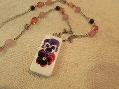 "Pink & Purple Pansies Domino Necklace Jewelry On Pink And Purple Bead Chain 18"" #Handmade #Chain"