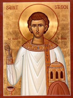 """Stephen (Revered as the first martyr, and the most famous deacon in the early Christian Church) Patronage: bricklayers; stonemasons Name meaning: """"Crown"""" Also Catholic Saints, Patron Saints, Roman Catholic, Early Christian, Christian Art, Christian Church, Christian Living, Religious Icons, Religious Art"""